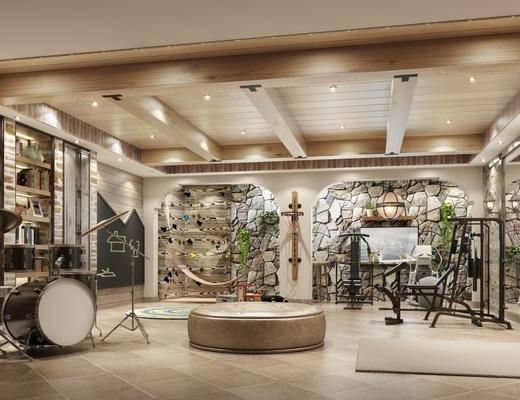 娱乐室, 鼓, 健身器材, 装饰柜, 书籍, 装饰画, 挂画, 现代