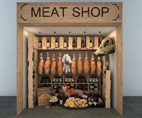 橱窗, 肉, 猪头, 酒, 现代, 双十一