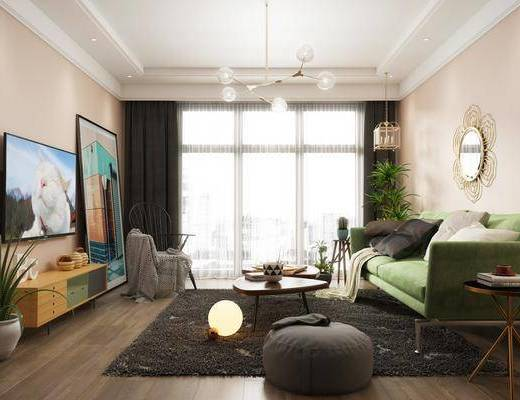 客廳, 沙發組合, 茶幾, 擺件組合, 莫蘭迪, 北歐客廳3d模型