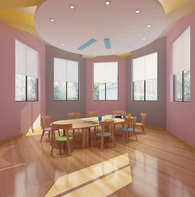幼儿园, 现代幼儿园, 北欧, 桌子, 椅子, 单椅, 洗手台, 镜子, 置物柜, 摆件, 盆栽, 装饰品, 挂画, 墙饰, 吊灯, 书桌, 新中式, 书架