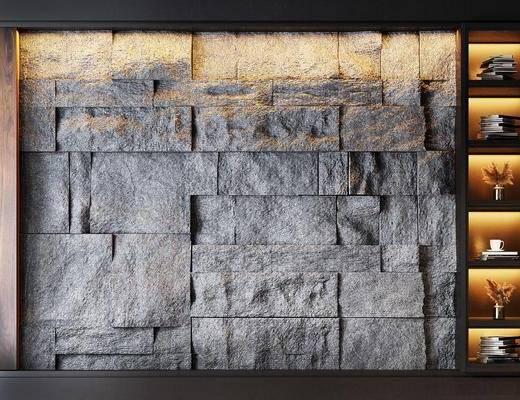 岩石背景墙, 背景墙, 墙饰, 置物架