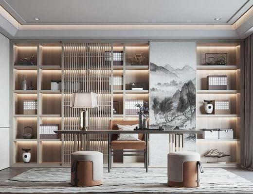 新中式, 书房, 书桌, 单椅, 书柜
