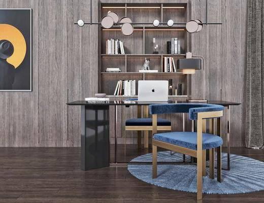 休闲椅, 吊灯, 书柜, 地毯, 窗帘