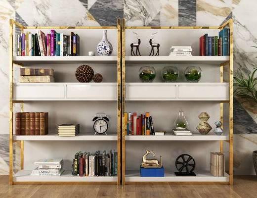 现代, 书架, 书籍, 摆件