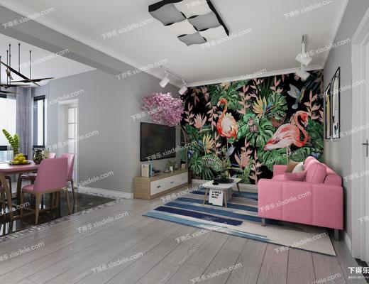 客厅, 餐厅, 卧室, 沙发组合, 餐桌椅