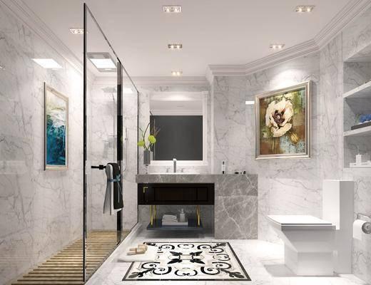卫浴, 卫生间, 现代卫生间, 现代轻奢, 淋浴间, 洗手台, 置物架, 卫浴小件, 现代