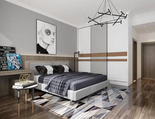 北欧卧室, 现代卧室, 卧室, 床, 衣柜, 吊灯, 挂画