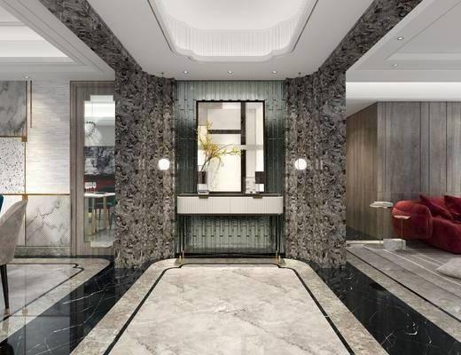 玄关走廊, 玄关柜, 装饰画, 挂画, 吊灯, 花瓶花卉, 现代