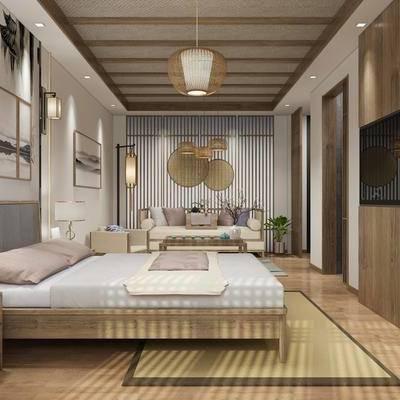 酒店客房, 民宿, 新中式民宿, 床具组合, 沙发组合, 植物盆栽, 摆件组合