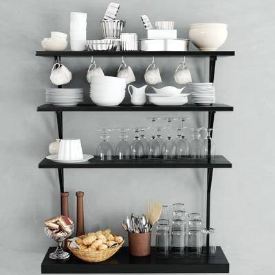 置物架, 橱柜, 器皿, 瓷器, 面包, 食品, 玻璃瓶, 杯子, 餐具, 现代