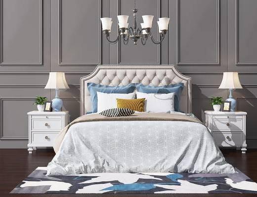 双人床, 吊灯组合, 床具组合, 床头柜, 台灯