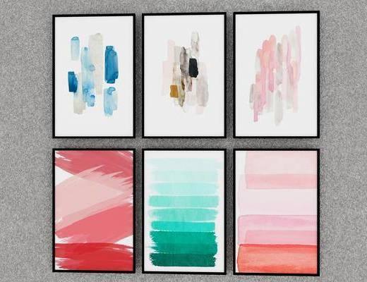 装饰画, 挂画, 组合画, 彩绘画, 现代