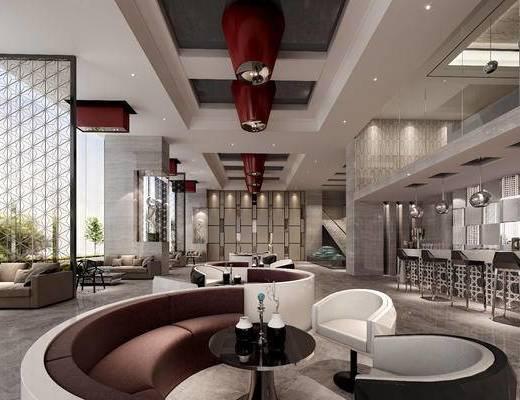 现代, 奶茶店, 多人沙发, 休闲椅, 灯具, 茶几