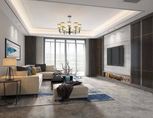 客厅, 多人沙发, 转角沙发, 茶几, 边几, 台灯, 吊灯, 花瓶花卉, 装饰画, 挂画, 新中式