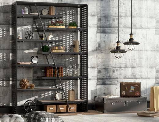 工业风置物架, 复古装饰柜架