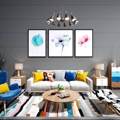 现代沙发茶几组合, 北欧沙发茶几组合, 现代挂画, 北欧挂画, 现代边柜, 北欧边柜, 北欧吊灯, 现代吊灯