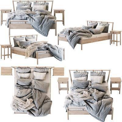 雙人床, 床頭柜, 現代