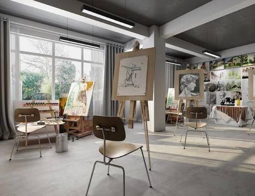 现代画室, 工装