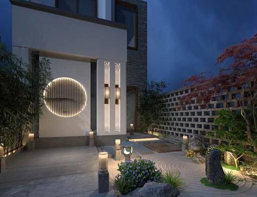 戶外庭院, 別墅, 竹子, 綠植植物, 中式