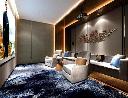 影音室, 沙发组合, 屏幕, 墙饰, 单椅, 抱枕