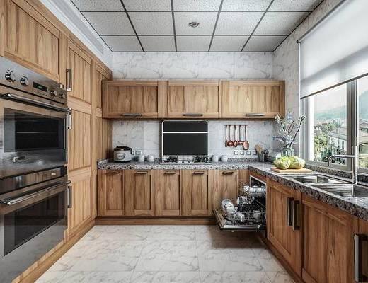 现代厨房, 橱柜, 烤箱, 餐具, 厨具, 厨房