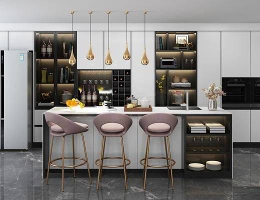橱柜, 吧台, 吧椅, 单人椅, 酒柜, 装饰柜, 盆栽, 花卉, 水果, 冰箱, 现代