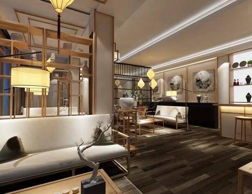 茶馆, 茶室, 新中式茶室, 茶具, 桌椅组合, 博古架