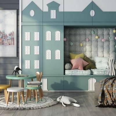 兒童房, 桌椅組合, 凳子, 裝飾畫, 掛畫, 玩具, 抱枕, 北歐