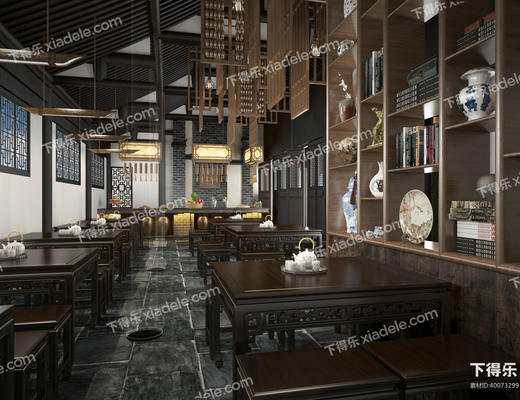 餐厅, 茶馆, 茶楼, 桌椅, 博古, 陈设品