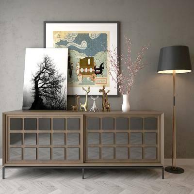 边柜, 摆件组合, 落地灯, 装饰画, 雕塑挂画, 现代