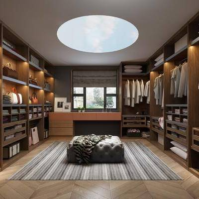现代衣帽间, 现代, 衣帽间, 包包, 衣服, 衣柜