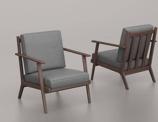 实木单椅, 单人椅, 新中式