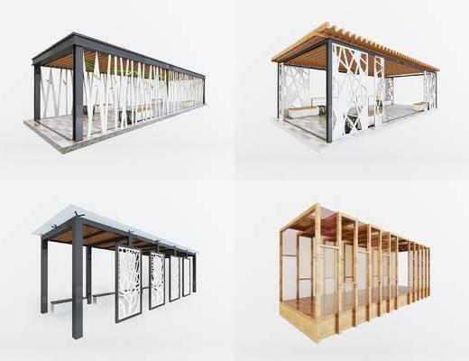 现代长廊走廊, 廊架, 现代, 凉亭