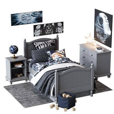 現代兒童床單人床
