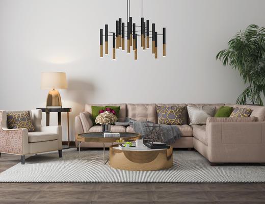 后现代, 沙发茶几组合, 吊灯, 植物盆栽, 陈设品组合