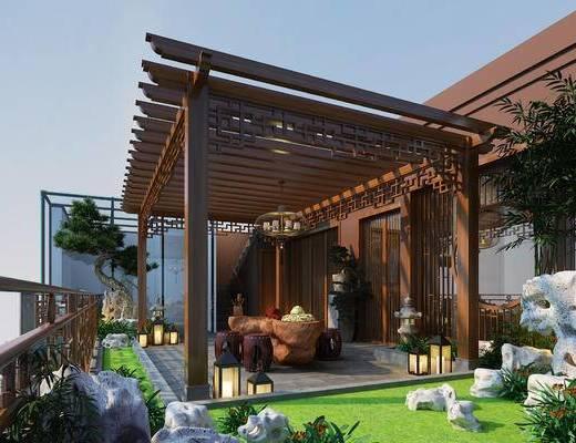 吊灯, 竹子, 桌椅, 绿植, 落地灯