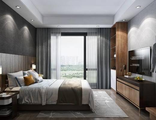 现代客房, 双人间, 单人间, 双人床, 酒店客房, 晾衣架, 床头柜, 壁灯