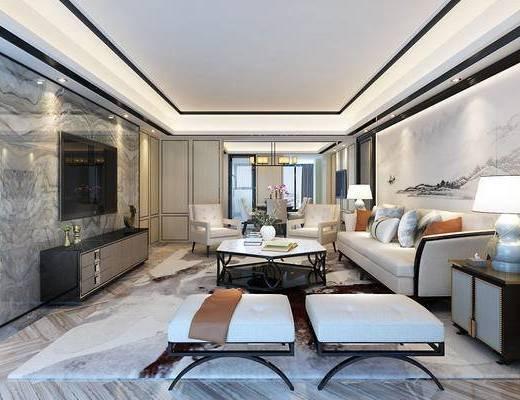 新中式客厅, 沙发组合, 茶几, 台灯, 电视, 电视柜