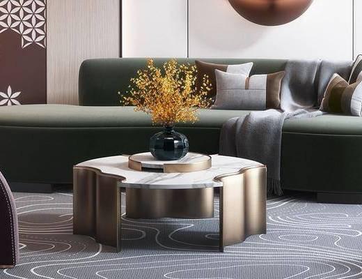 沙发组合, 墙饰, 茶几, 摆件组合, 盆栽植物