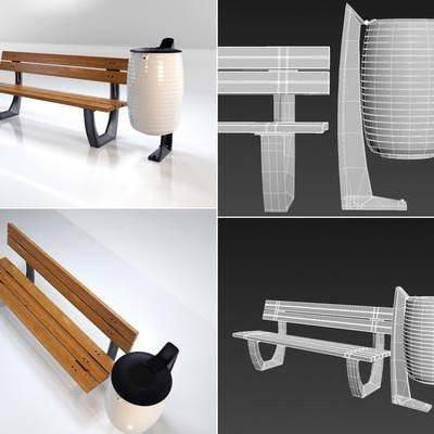 户外椅, 园林灯, 长凳, 组合, 现代长凳, 现代