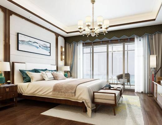 新中式卧室, 卧室, 床具, 双人床, 新中式吊灯, 吊灯, 床头柜, 台灯, 壁灯, 床尾踏, 边柜, 装饰柜