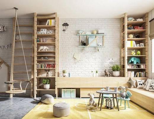 沙发组合, 墙饰, 桌椅组合, 书柜