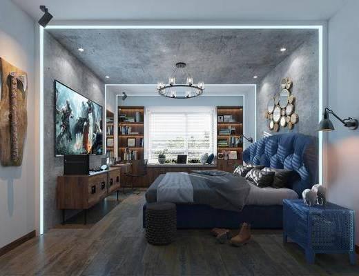 卧室, 双人床, 床头柜, 壁灯, 墙饰, 电视柜, 书桌, 椅子, 摆件, 装饰柜, 挂画, 吊灯, 工业风