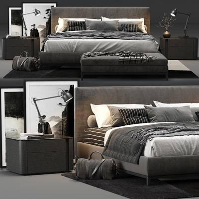 双人床, 床头柜, 床尾凳, 台灯, 书籍, 装饰画, 旅行包, 地毯, 摆件, 现代, 床