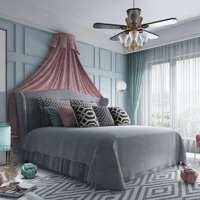 卧室, 女孩房, 床具, 双人床, 床头柜, 吊灯, 落地灯, 装饰画, 吊扇, 单椅, 休闲椅, 北欧