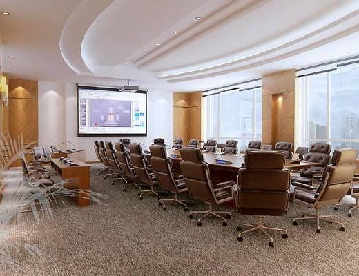 现代, 多媒体, 会议室, 办公室, 会议桌, 办公椅