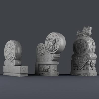 抱鼓石, 中式, 新中式, 石雕, 雕刻, 雕塑