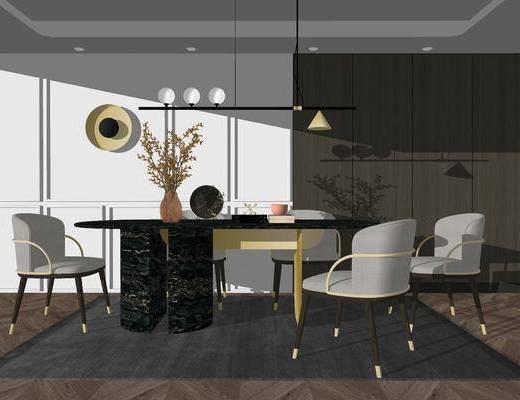 餐桌, 桌椅组合, 餐具组合, 装饰画, 吊灯, 墙饰