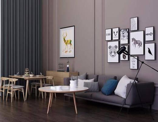 多人沙发, 装饰画, 挂画, 落地灯, 茶几, 餐桌, 餐椅, 边柜, 装饰柜, 照片墙, 布艺沙发, 单人椅, 北欧