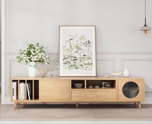 电视柜, 边柜, 花瓶花卉, 吊灯, 摆件, 装饰品, 陈设品, 北欧